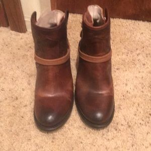 Freebird Casey booties in brown.  Size 8.  Worn 1x